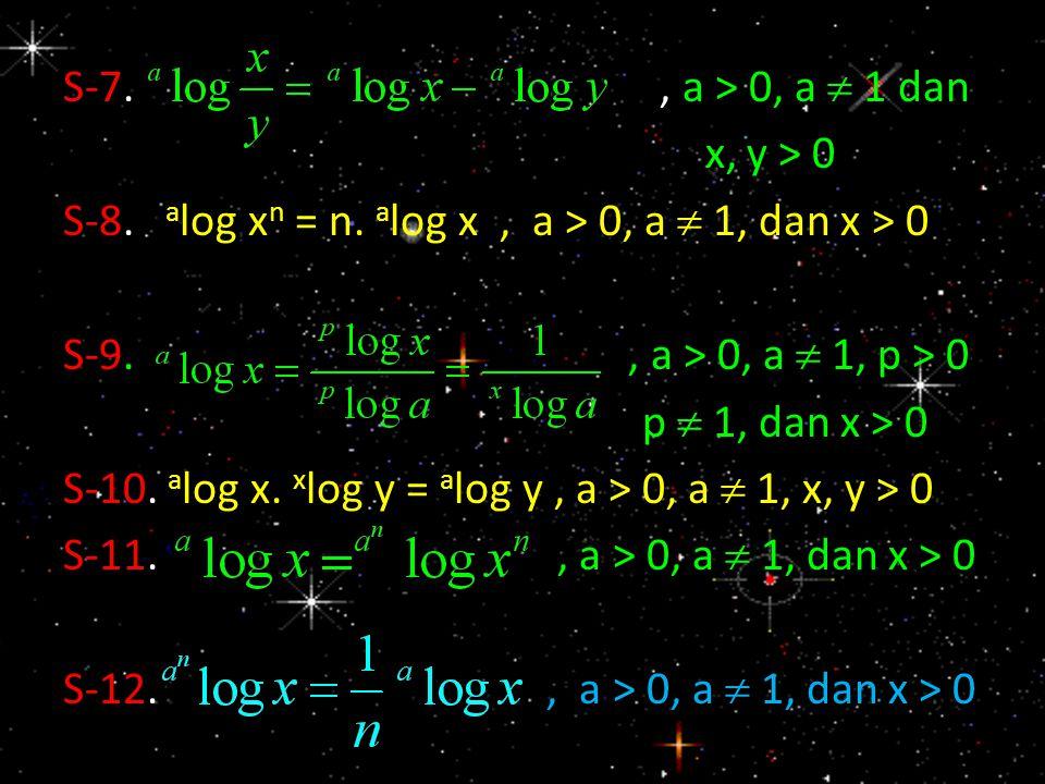 S-7. , a > 0, a  1 dan x, y > 0. S-8. alog xn = n. alog x , a > 0, a  1, dan x > 0.