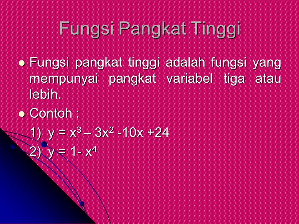 Fungsi Pangkat Tinggi Fungsi pangkat tinggi adalah fungsi yang mempunyai pangkat variabel tiga atau lebih.