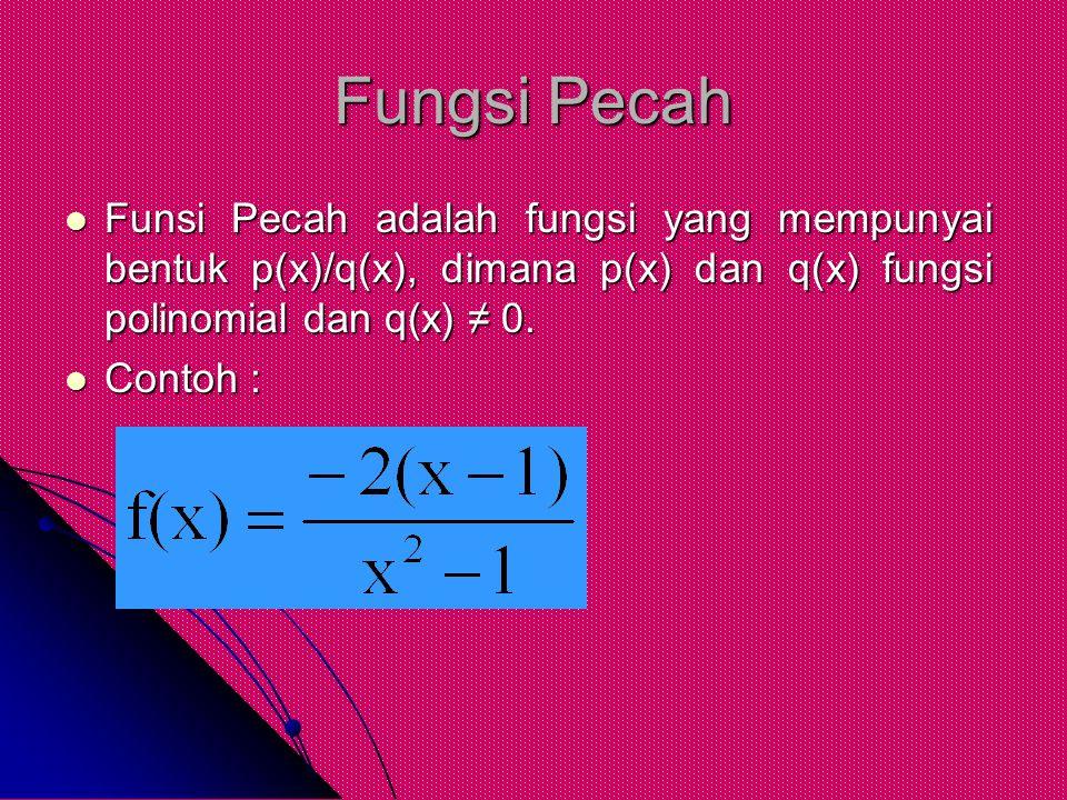 Fungsi Pecah Funsi Pecah adalah fungsi yang mempunyai bentuk p(x)/q(x), dimana p(x) dan q(x) fungsi polinomial dan q(x) ≠ 0.