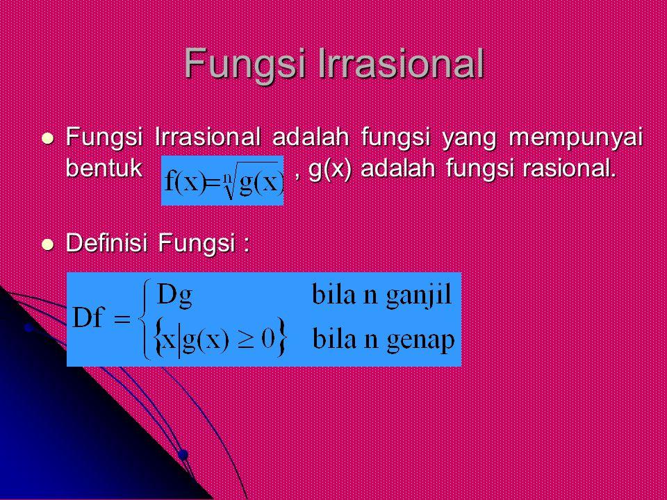 Fungsi Irrasional Fungsi Irrasional adalah fungsi yang mempunyai bentuk , g(x) adalah fungsi rasional.