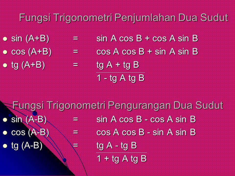 Fungsi Trigonometri Penjumlahan Dua Sudut