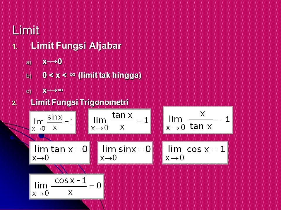 Limit Limit Fungsi Aljabar x→0 0 < x < ∞ (limit tak hingga) x→∞