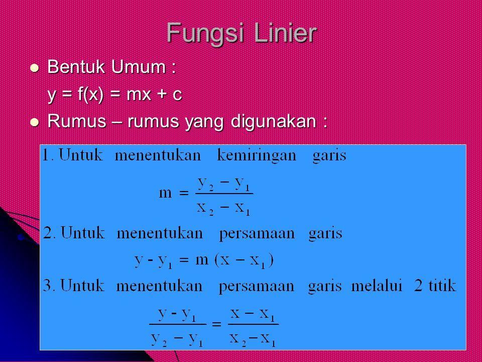 Fungsi Linier Bentuk Umum : y = f(x) = mx + c