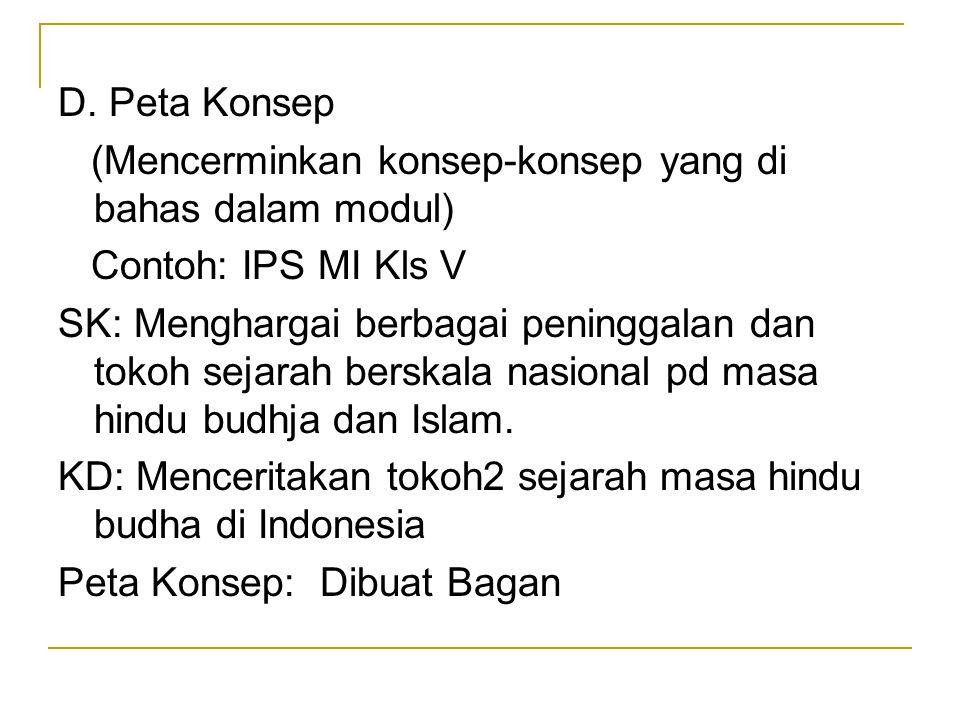 D. Peta Konsep (Mencerminkan konsep-konsep yang di bahas dalam modul) Contoh: IPS MI Kls V.