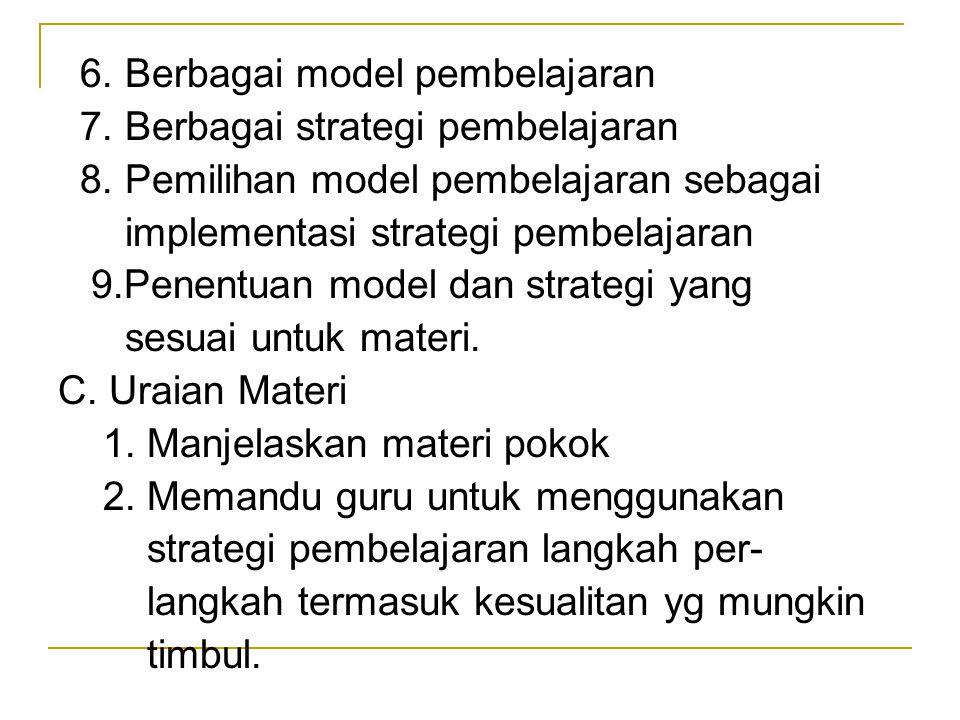 6. Berbagai model pembelajaran