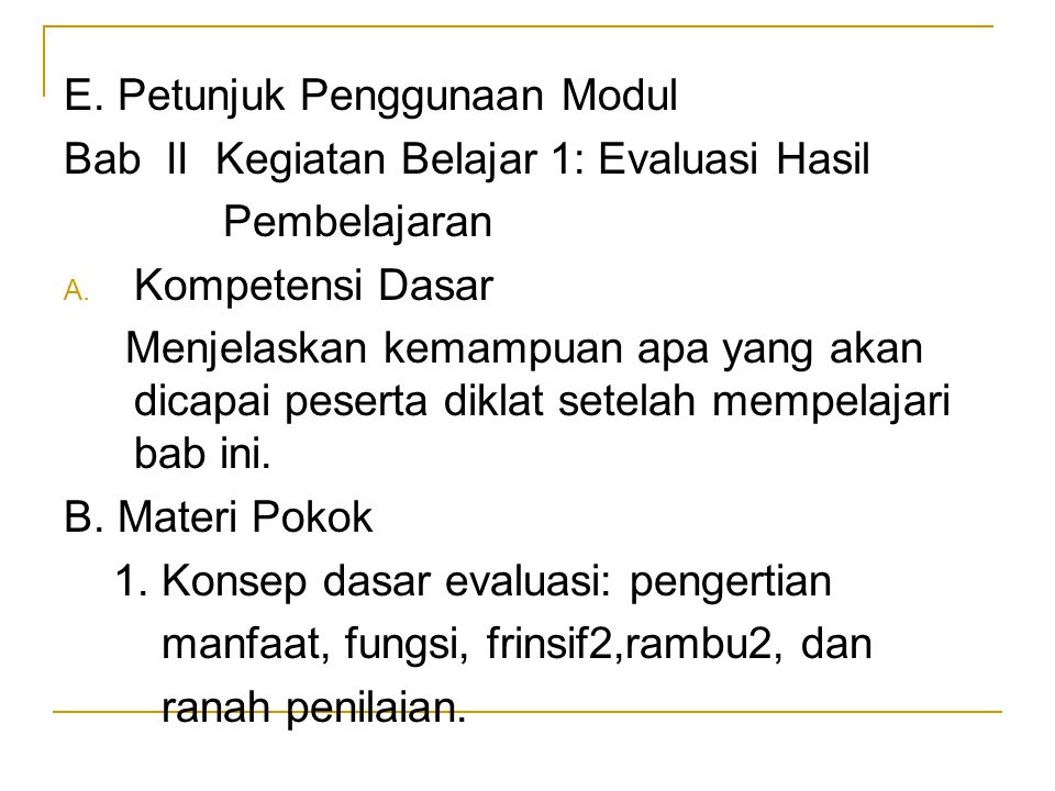 E. Petunjuk Penggunaan Modul