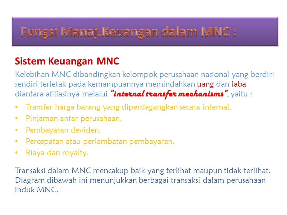 Fungsi Manaj.Keuangan dalam MNC :