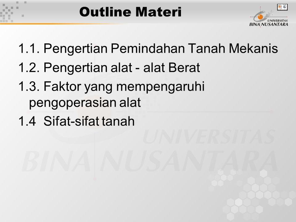 Outline Materi 1.1. Pengertian Pemindahan Tanah Mekanis. 1.2. Pengertian alat - alat Berat. 1.3. Faktor yang mempengaruhi pengoperasian alat.