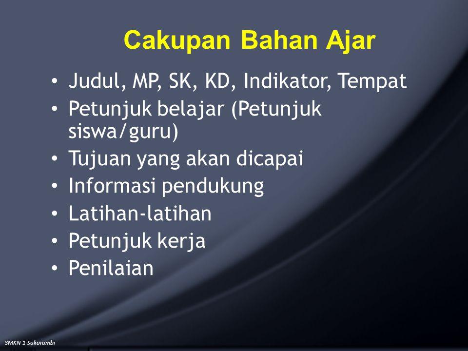 Cakupan Bahan Ajar Judul, MP, SK, KD, Indikator, Tempat