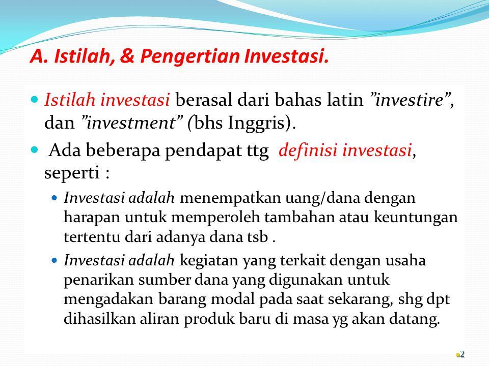 A. Istilah, & Pengertian Investasi.