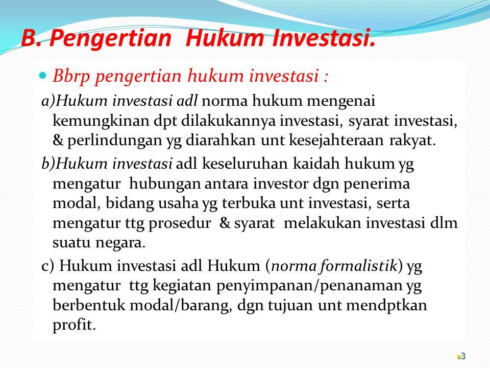 B. Pengertian Hukum Investasi.