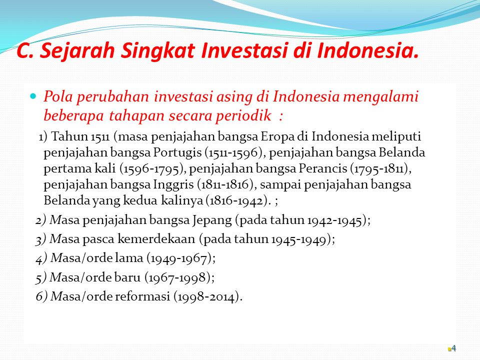 C. Sejarah Singkat Investasi di Indonesia.