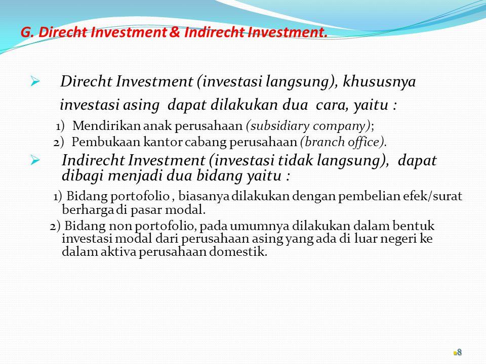G. Direcht Investment & Indirecht Investment.