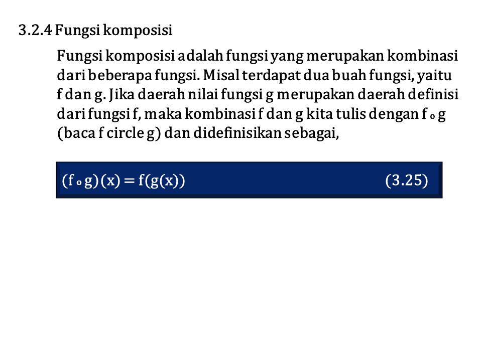 3.2.4 Fungsi komposisi Fungsi komposisi adalah fungsi yang merupakan kombinasi. dari beberapa fungsi. Misal terdapat dua buah fungsi, yaitu.