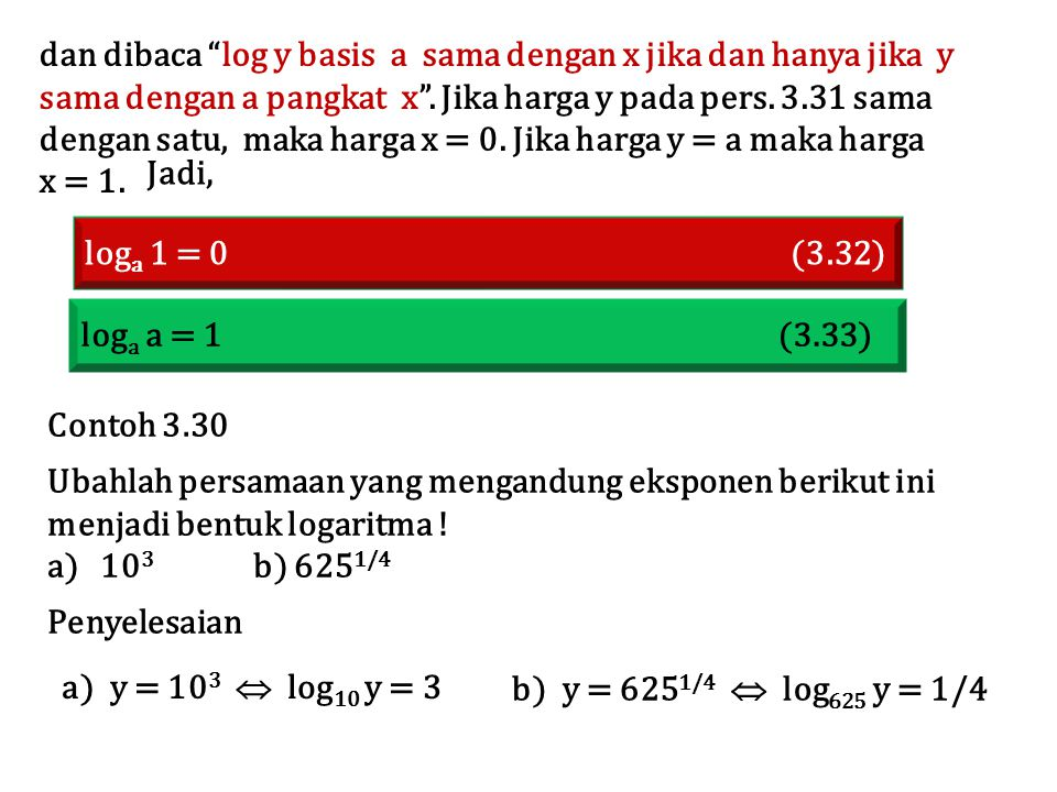 dan dibaca log y basis a sama dengan x jika dan hanya jika y