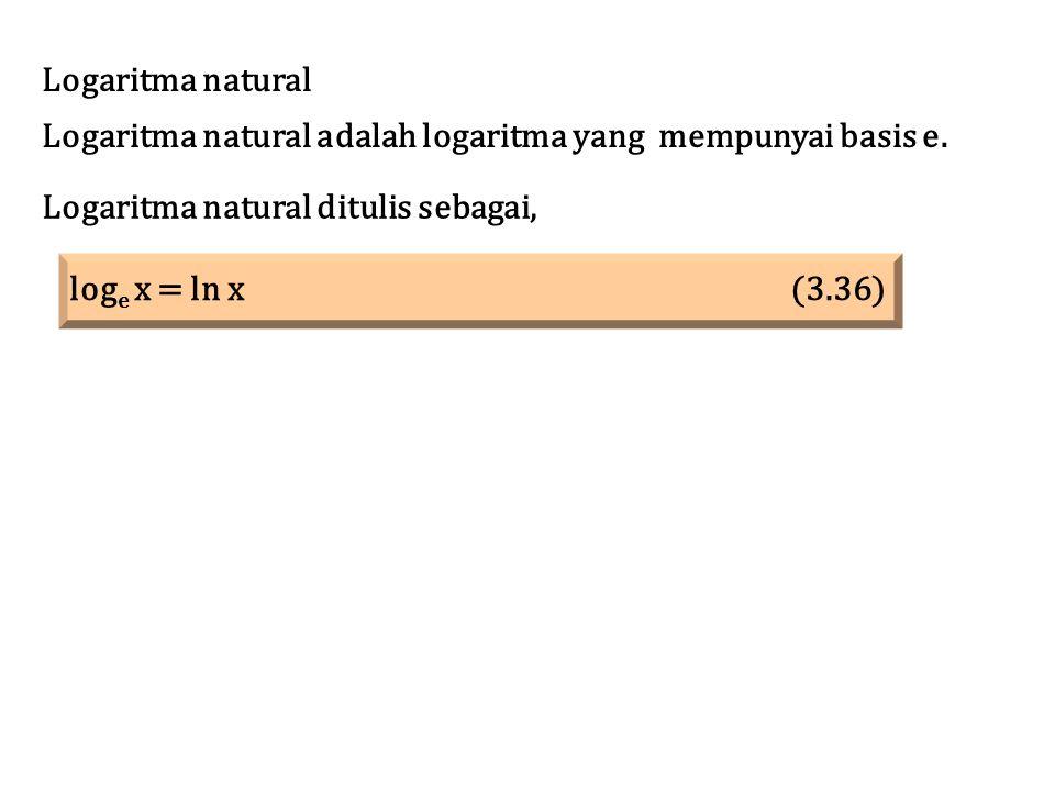 Logaritma natural Logaritma natural adalah logaritma yang mempunyai basis e. Logaritma natural ditulis sebagai,
