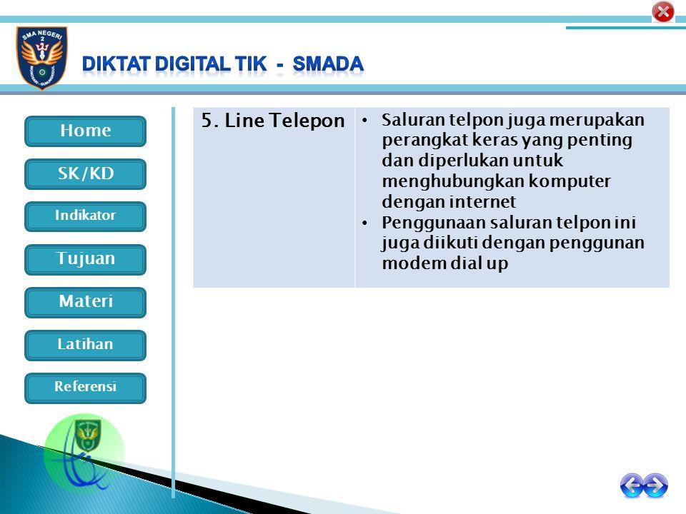 5. Line Telepon Saluran telpon juga merupakan perangkat keras yang penting dan diperlukan untuk menghubungkan komputer dengan internet.