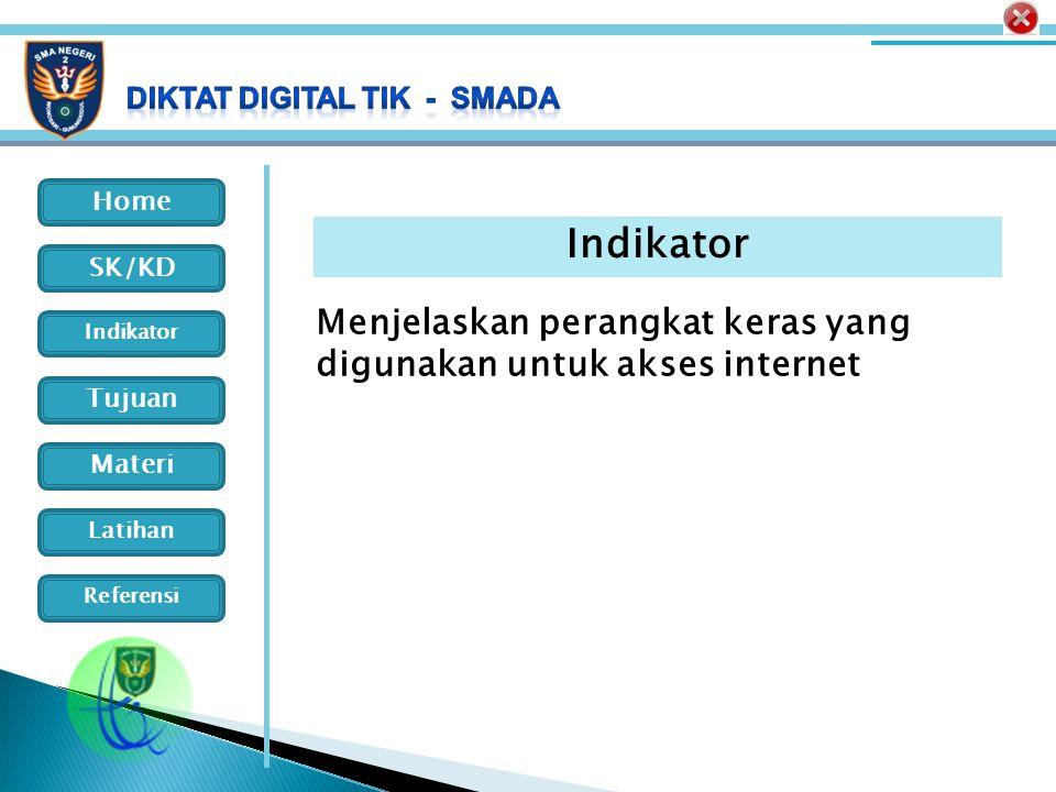 Indikator Menjelaskan perangkat keras yang digunakan untuk akses internet