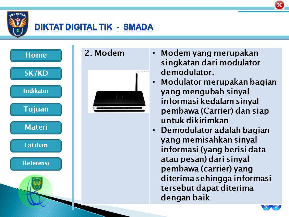 2. Modem Modem yang merupakan singkatan dari modulator demodulator.