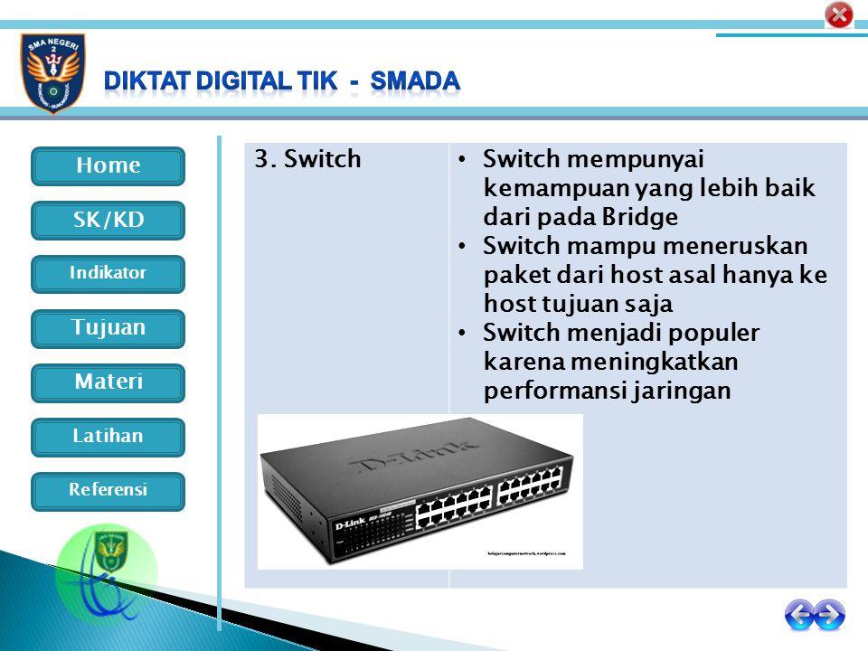 3. Switch Switch mempunyai kemampuan yang lebih baik dari pada Bridge. Switch mampu meneruskan paket dari host asal hanya ke host tujuan saja.
