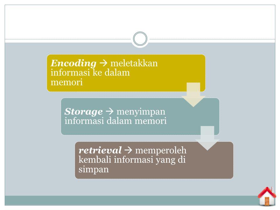 Encoding  meletakkan informasi ke dalam memori
