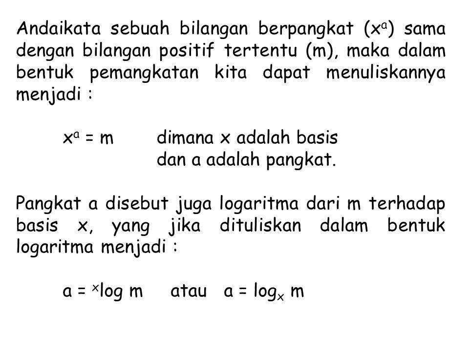 Andaikata sebuah bilangan berpangkat (xa) sama dengan bilangan positif tertentu (m), maka dalam bentuk pemangkatan kita dapat menuliskannya menjadi :