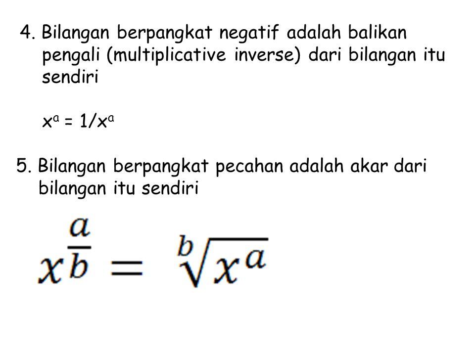 4. Bilangan berpangkat negatif adalah balikan