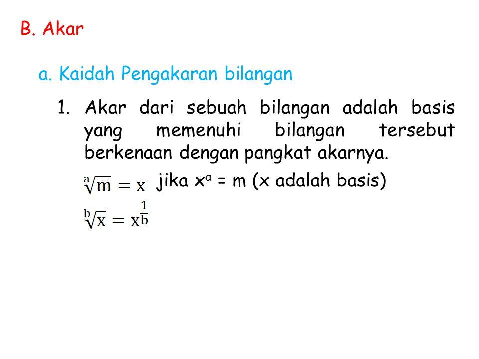 B. Akar a. Kaidah Pengakaran bilangan. Akar dari sebuah bilangan adalah basis yang memenuhi bilangan tersebut berkenaan dengan pangkat akarnya.