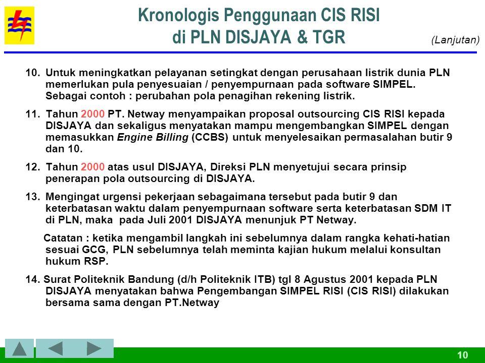 Kronologis Penggunaan CIS RISI di PLN DISJAYA & TGR