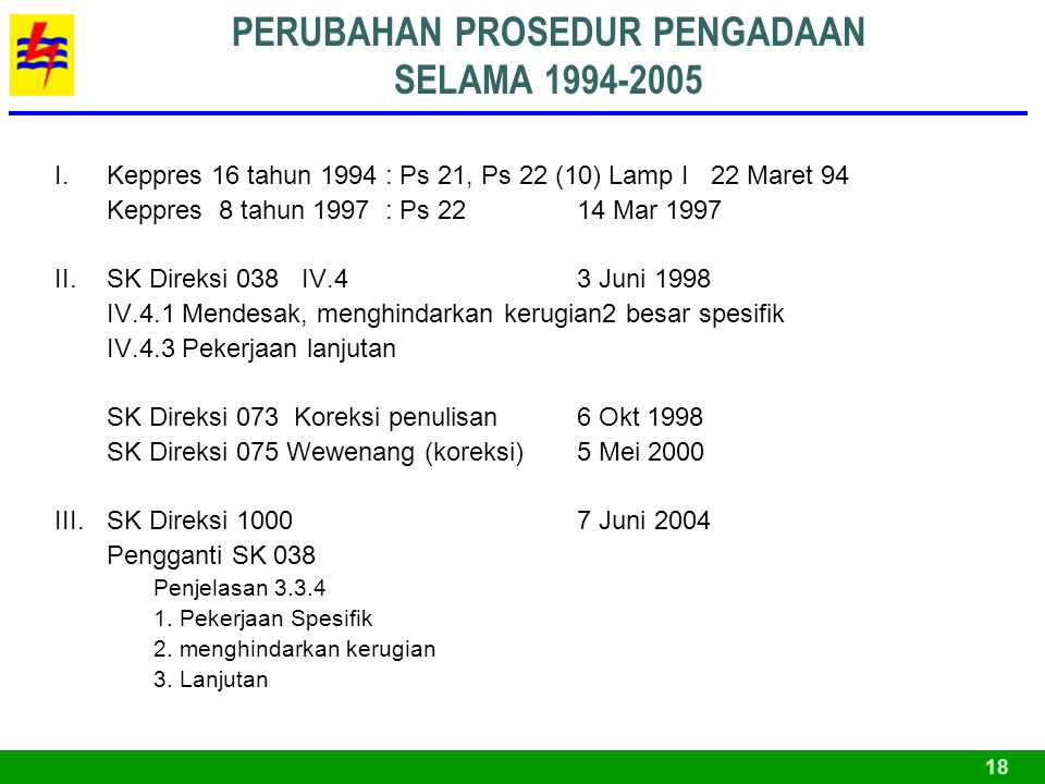 PERUBAHAN PROSEDUR PENGADAAN SELAMA 1994-2005