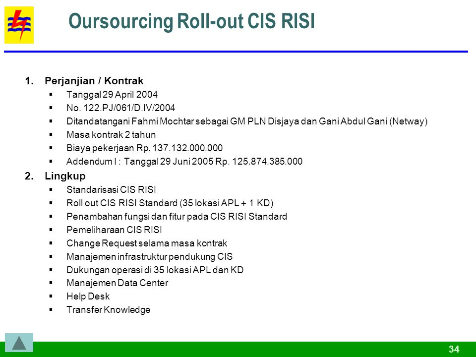 Oursourcing Roll-out CIS RISI