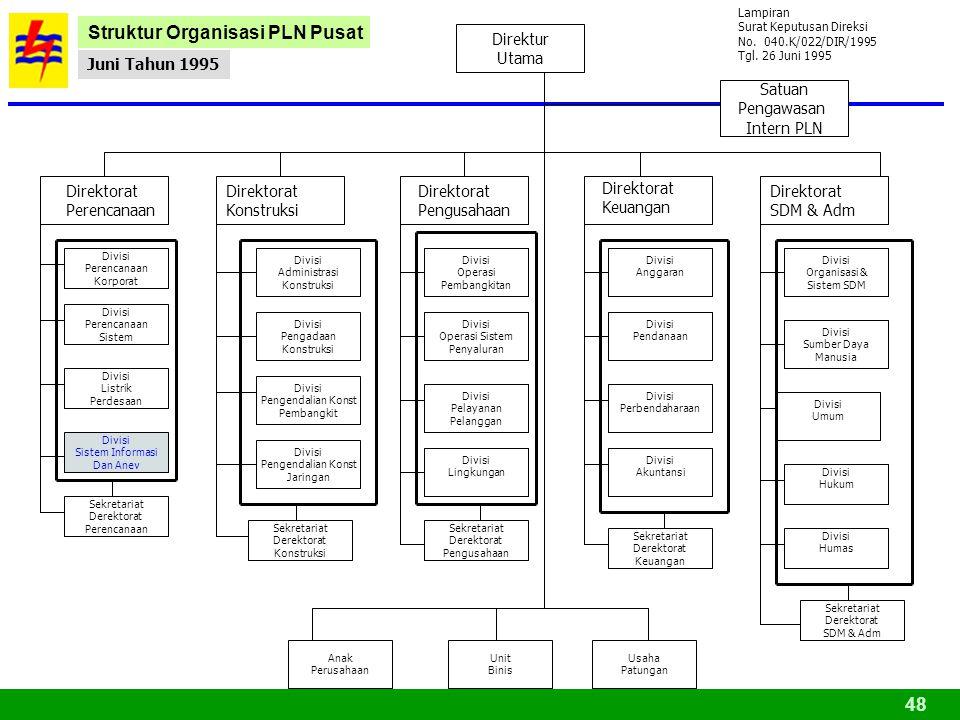 Struktur Organisasi PLN Pusat