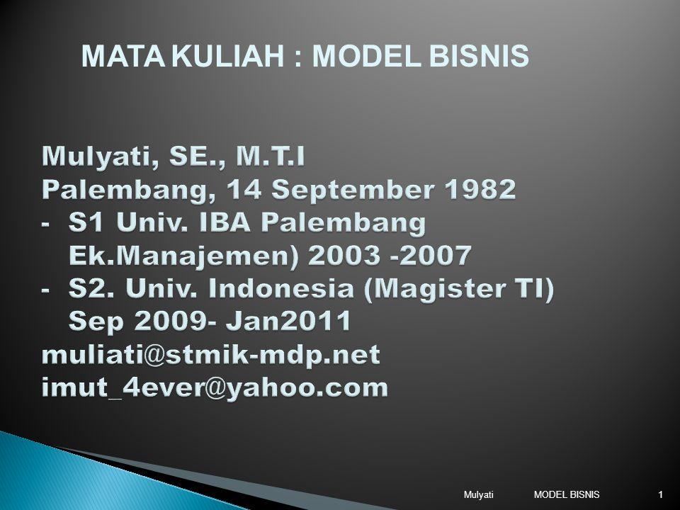 MATA KULIAH : MODEL BISNIS
