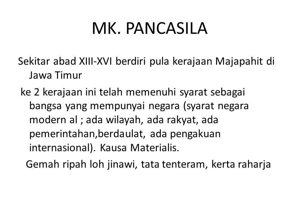 MK. PANCASILA Sekitar abad XIII-XVI berdiri pula kerajaan Majapahit di Jawa Timur.