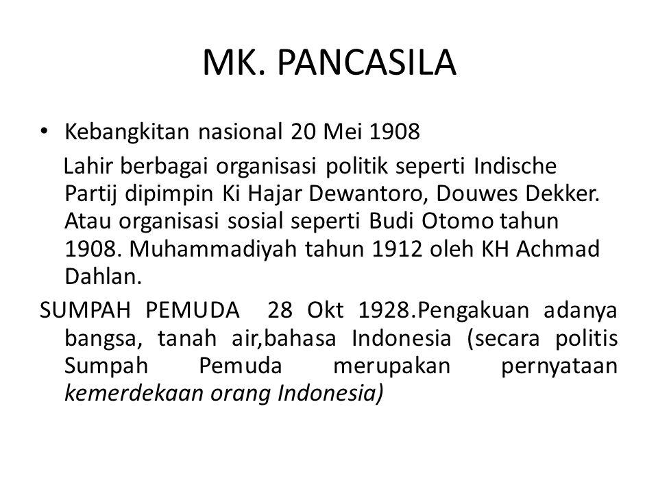 MK. PANCASILA Kebangkitan nasional 20 Mei 1908