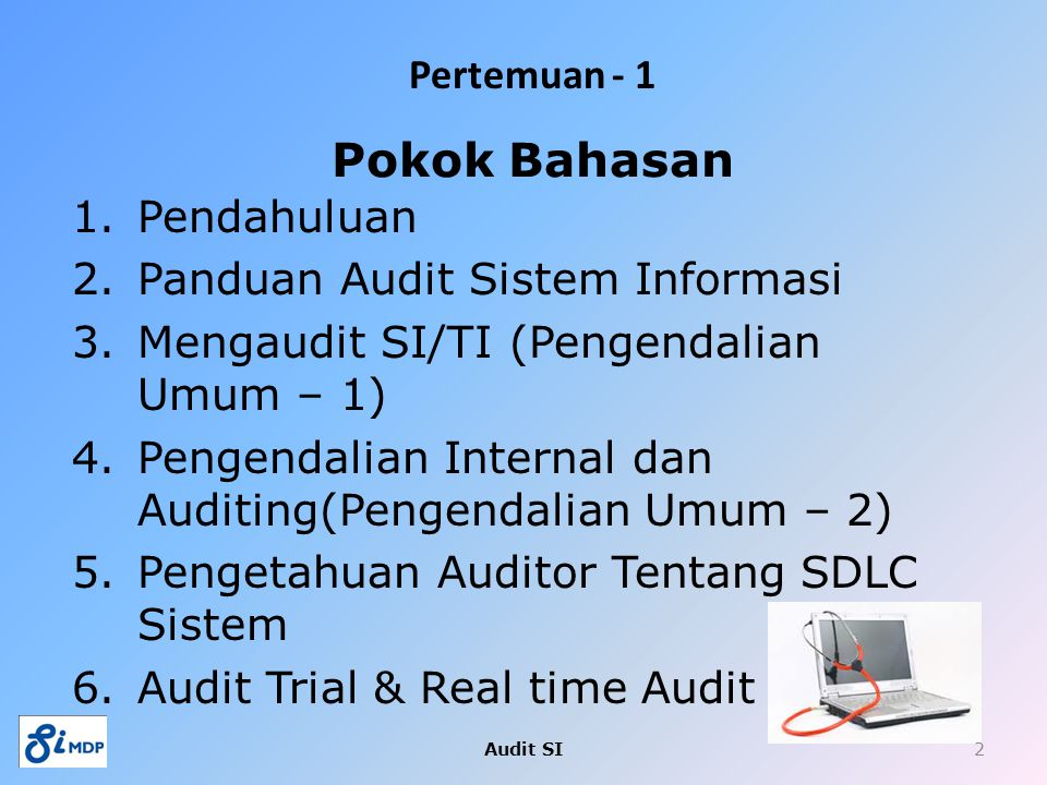 Pokok Bahasan Pendahuluan Panduan Audit Sistem Informasi