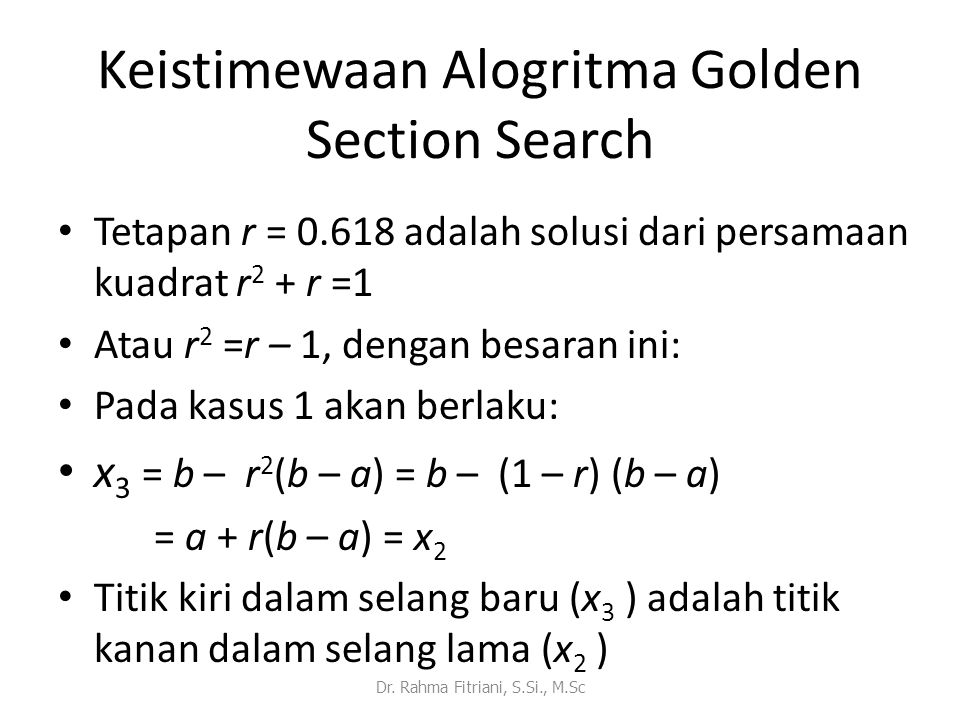 Keistimewaan Alogritma Golden Section Search