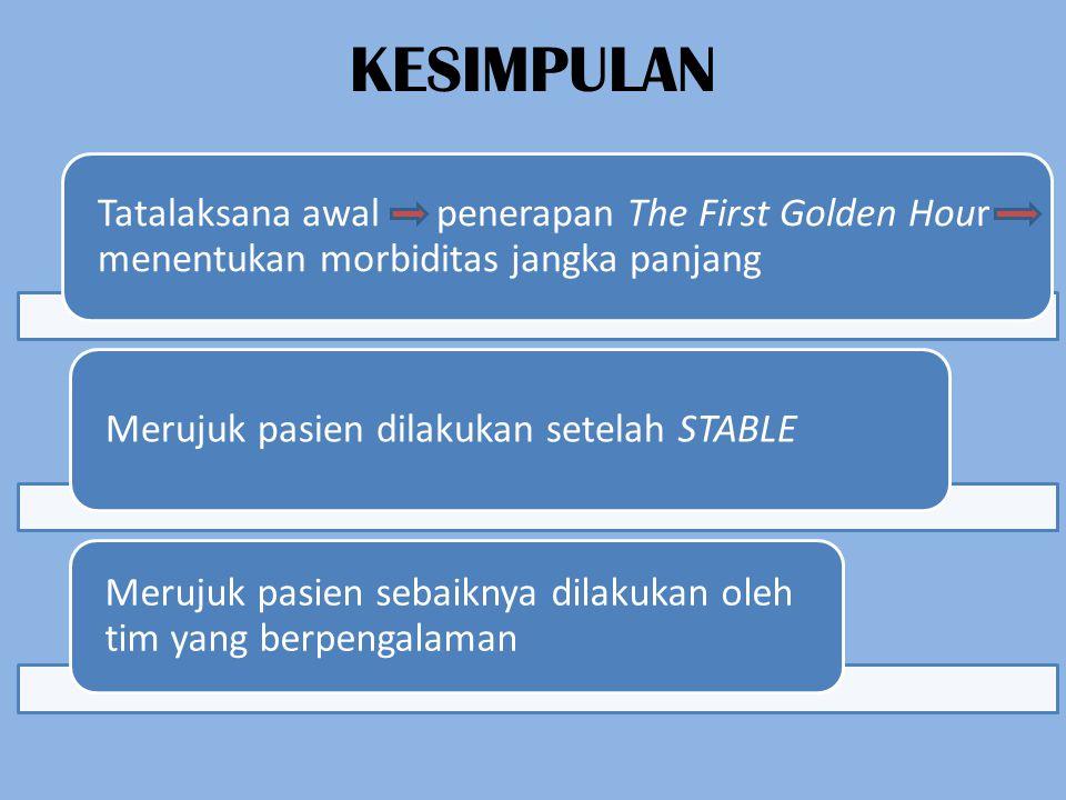 KESIMPULAN Tatalaksana awal penerapan The First Golden Hour menentukan morbiditas jangka panjang.