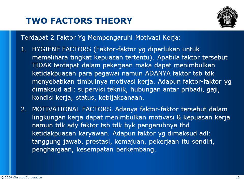 TWO FACTORS THEORY Terdapat 2 Faktor Yg Mempengaruhi Motivasi Kerja: