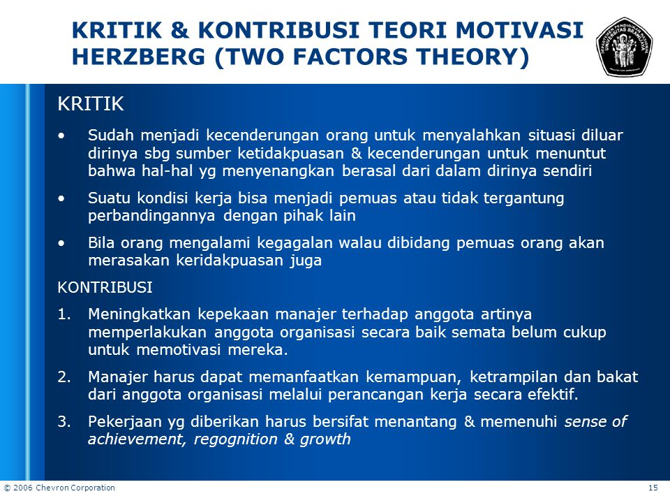 KRITIK & KONTRIBUSI TEORI MOTIVASI HERZBERG (TWO FACTORS THEORY)