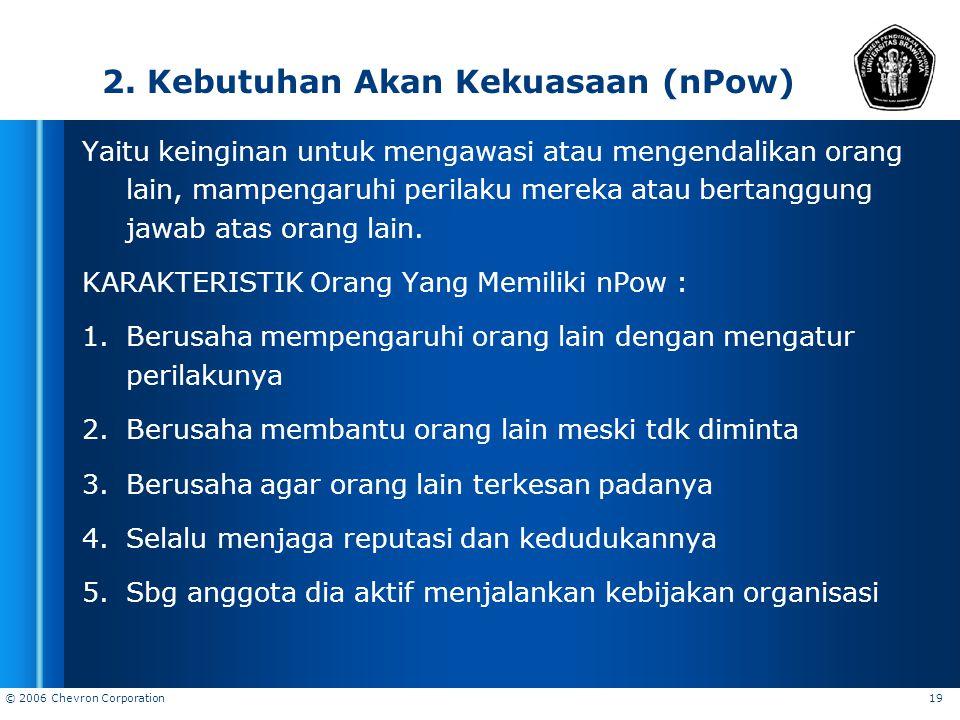 2. Kebutuhan Akan Kekuasaan (nPow)