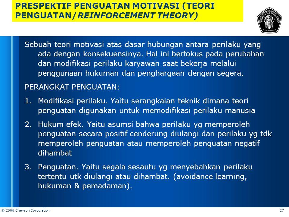 PRESPEKTIF PENGUATAN MOTIVASI (TEORI PENGUATAN/REINFORCEMENT THEORY)