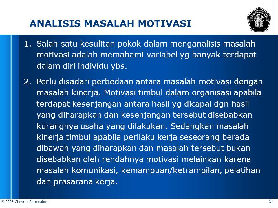 ANALISIS MASALAH MOTIVASI