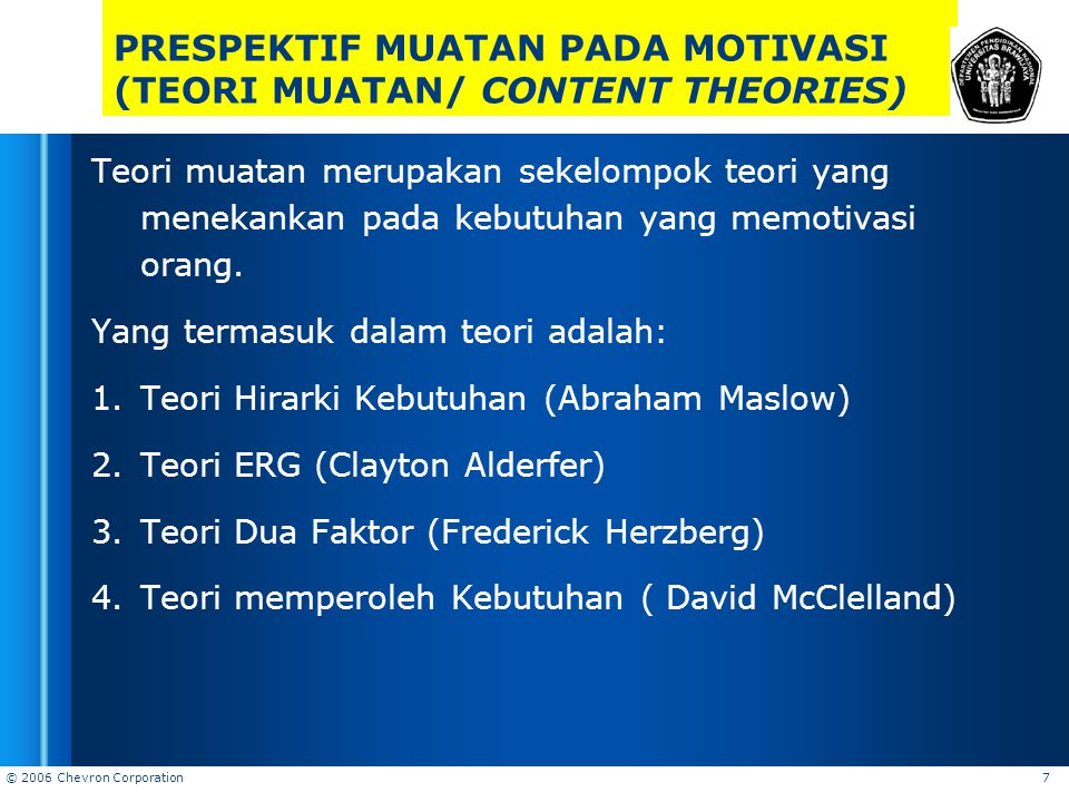 PRESPEKTIF MUATAN PADA MOTIVASI (TEORI MUATAN/ CONTENT THEORIES)