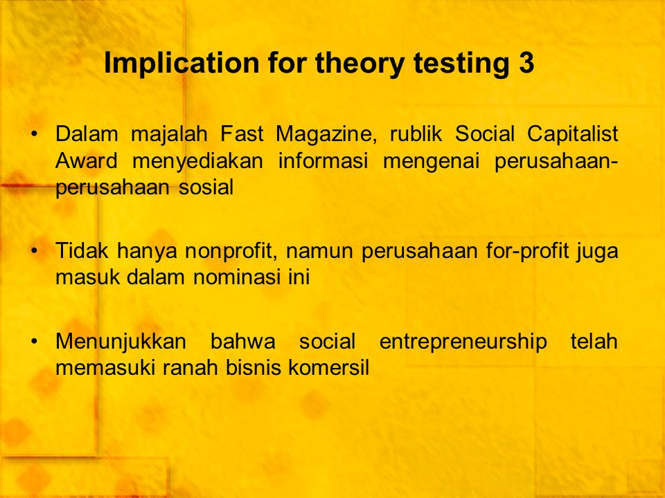 Implication for theory testing 3