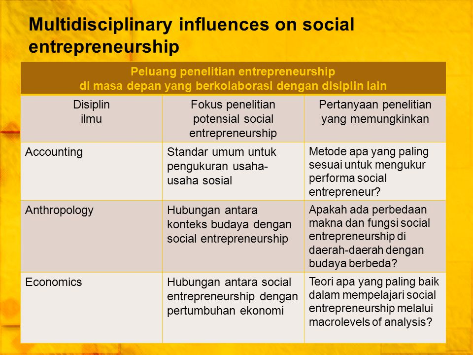 Multidisciplinary influences on social entrepreneurship
