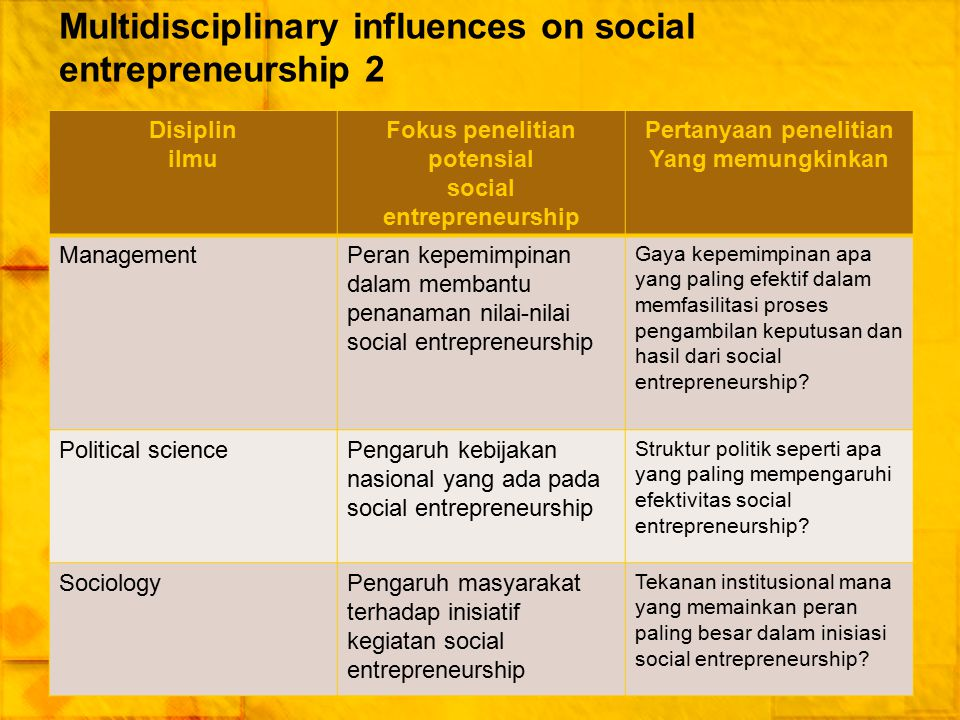 Multidisciplinary influences on social entrepreneurship 2