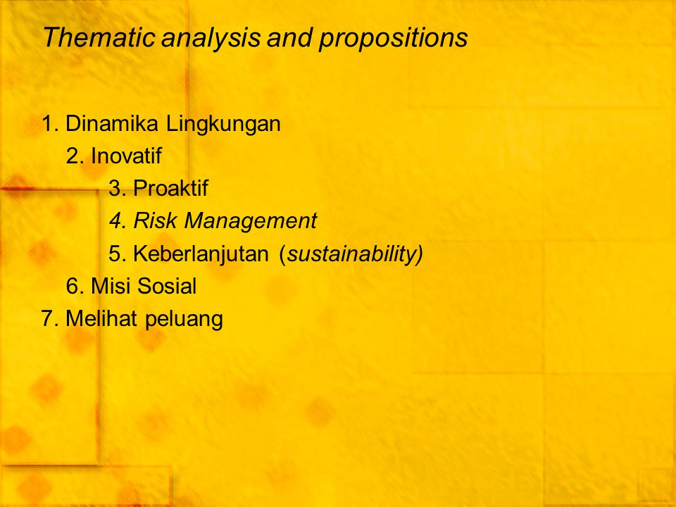 Thematic analysis and propositions