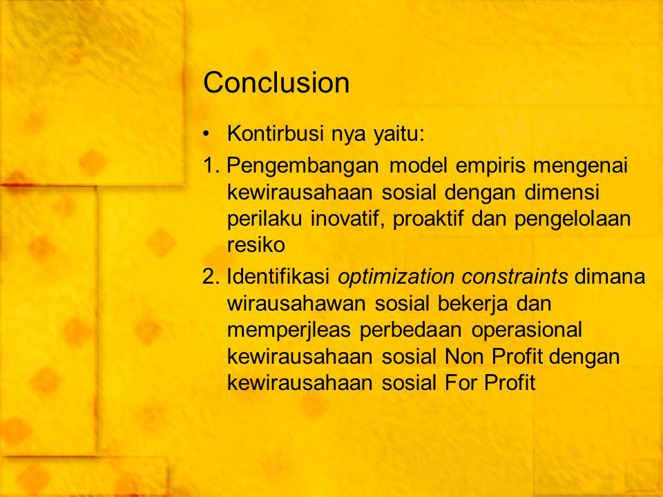 Conclusion Kontirbusi nya yaitu: