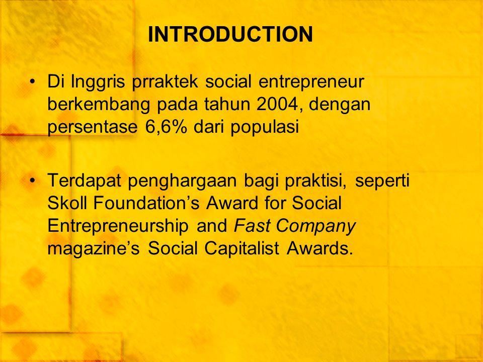 INTRODUCTION Di Inggris prraktek social entrepreneur berkembang pada tahun 2004, dengan persentase 6,6% dari populasi.
